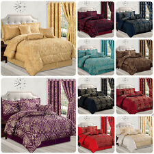 Jacquard 7Piece Quilted Bedspread Comforter Set Bedding Double King Size&Curtain