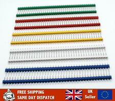 Pack of 10 x 40-pin Header Pins Male 2.54mm, Black, Blue, Various Colours