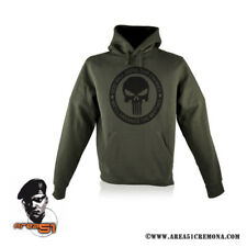 FELPA VERDE MILITARE CON CAPPUCCIO  THE PUNISHER