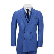Mens 3 Piece Double Breasted Pencil Pin Stripe Suit Royal Blue Classic Retro Fit