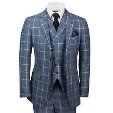Mens Classic 3 Piece Suit White Bold Check on Grey Retro Vintage Tailored Fit