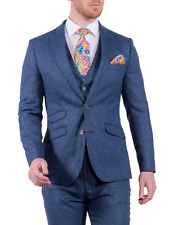 MENS 100% BRITISH WOOL BLUE TWEED SUIT - MIX& MATCH JACKET /WAISTCOAT /TROUSERS