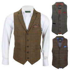 Mens Tweed Check Waistcoat Retro Herringbone Collared Smart Formal Slim FitVest