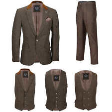 Men Brown Tweed Wool 3 Piece Suit Sold Separately Retro Blazer Waistcoat Trouser