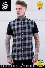 SINNERS White/Black Flannel Check Shirt - Sinners Attire Gym Muscle Shirt