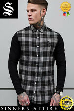 SINNERS White/Black L/S Flannel Check Shirt - Sinners Attire Gym Muscle Shirt