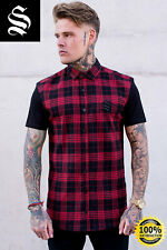 SINNERS Red/Black Flannel Check Shirt - Sinners Attire Gym Muscle Shirt