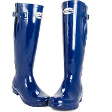 Rockfish Ladies Tall Adjustable Gloss Womens Boots Wellies - Navy All Sizes