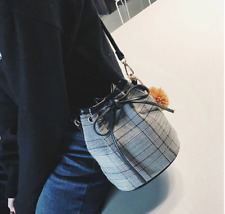 Korean Style Bucket Checkered Sling Handbag
