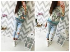 Ladies Winter Pullover Color Gradient Floral Print Long Sleeve Outwear Jumper