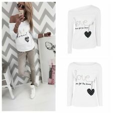 Ladied Spring Autumn Blouse Crew Neck Long Sleeve Love Letter Print Casual Tee