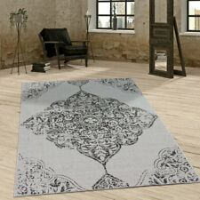 Flat Woven Rug Grey Paisley Pattern Indoor Outdoor Mat Vintage Quality Carpet