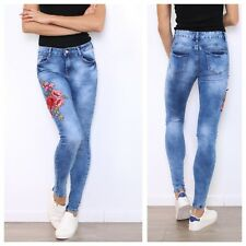 WOMENS LADIES FLORAL EMBROIDERED STRETCH LIGHT ACID BLUE WASH DENIM SKINNY JEANS