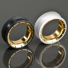 8-26mm Silicona Acero Oro Flesh Tunnel PLUG Double flared Piercing Oreja Z287