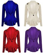 Womens Ladies Spike Peplum Studded Blazer One Button Top Coat Jacket Plus Size