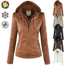 Womens Leather Hooded Jacket Slim Overcoat Trench Warm Winter Outwear Parka Coat