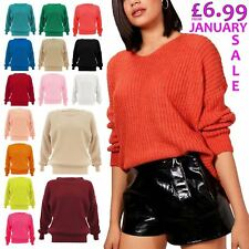 New Womens Chunky Knitted Baggy Jumper Ladies Oversized Plain Colour Sweater Top