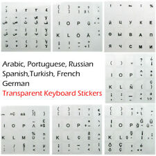 Keyboard Stickers Laptop PC Computer Russian Arabic Portuguese Spanish French