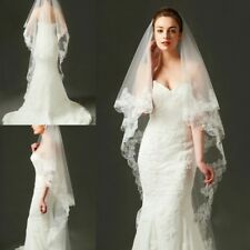 New White/Ivory 2T Wedding Bridal Fingertip Veil Bride Cathedral Veils With Comb