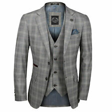 Mens 3 Piece Suit L Grey Prince of Wales Check Retro Vintage Smart Tailored Fit