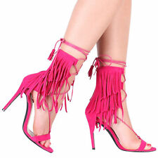 Womens Lace up Fastening Cut Out Strappy Stiletto Heel in Fuschia Faux Suede 3-8