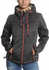SuperDry GIACCA DONNA CON CAPPUCCIO SHERPA WINDTREKKER BLACK GRIT CARAMELLE
