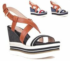 LADIES HIGH WEDGE FLATFORM CANVAS ANKLE STRAP PEEP TOE CUT OUT SANDALS SIZE