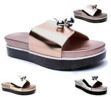 LADIES SLIP ON FLAT RUBBER SOLE COMFORT SANDALS PEEP TOE BEACH SHOES SLIPPERS