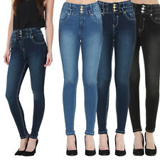 Womens Ladies Black / Blue High Waisted Skinny Fit Jeans Size 6 8 10 12 14 16 18