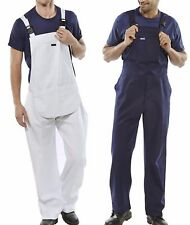 Mens Bib & Brace Overalls Painters Decorators Coveralls Dungarees White or Blue
