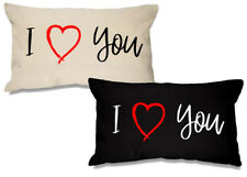 I Love You  Rectangular 100% Cotton Cushion - 51cm x 30cm - 2 Colour Options