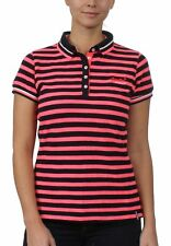 Superdry Damen Polo PACIFIC STRIPE POLO Marina Navy Fluro Pink Stripe