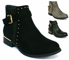 WOMENS LADIES ANKLE ZIP BUCKLE CHELSEA BLOCK HEEL LOW SHOES BOOTS SIZE 3-8 NEW