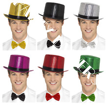 Smiffys Deluxe SEQUIN Hen Stag Dance Stage Show Party TOP HAT + BOW TIE