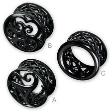 6-22mm Flesh Tunnel PLUG NEGRO acero piercing oreja Tribal Triskele Z430