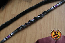 Black clip in wool dreads with grey highlights Twisted hair wrapped boho design