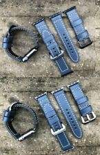Quality Thick Blue Leather Watch Strap Band for Apple Watch Series 1 2 3 38/42mm