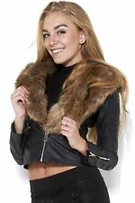 WOMENS LADIES BLACK FAUX FUR COLLAR SHINY PU PVC LEATHER LOOK BIKER JACKET COAT