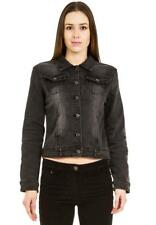 New Ladies Womens Black Faded Grey Fitted Stretch Denim Jacket Jeans Jacket