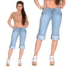 New Womens Light Blue Faded Long Denim Shorts Capri 3/4 Length Jeans Pants