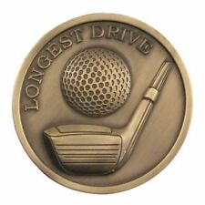 70mm Longest Drive or Nearest the Pin Golf Medalallion in Antique Gold