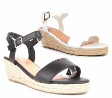 LADIES HIGH WEDGE ESPADRILLES ANKLE BUCKLE PEEP TOE STRAPPY CUT OUT SANDALS SIZE