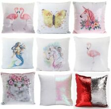 Sequin Cushion Cat Unicorn Mermaid Butterfly Flamingo Reversible Filled 40cm