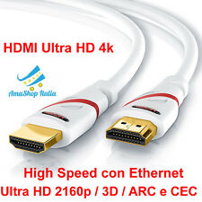 Cavo HDMI Ultra HD 4k High Speed con Ethernet 2160p 3D ARC e CEC da 0,5 m - 15 m