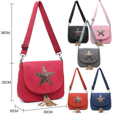 Ladies Canvas Star Cross Body Messenger Bag Women Shoulder Tote Satchel Handbag