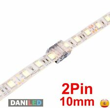 CONECTOR UNICOLOR EMPALME 2 PIN PARA TIRAS LED SMD 5050 10mm IP65 Ó IP20 (NUEVO)