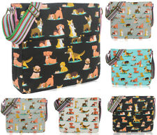 Ladies Canvas Dogs Print Cross Body Messenger Bag Women Shoulder Tote Handbag