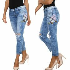 Women's relaxed Cropped Destroyed Jeans with floral applique detail UK 8-14