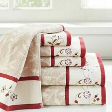 Luxury 6pc Taupe & Red Floral Embroidered Cotton Jacquard Bath Towel Set