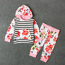 Newborn Baby Kids Girls Clothes Floral Hooded Tops+Long Pants Outfits Set